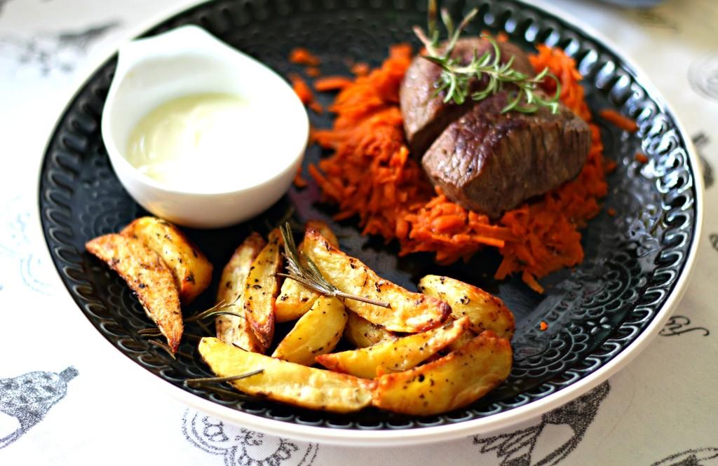 kartoffelwedges mit steak